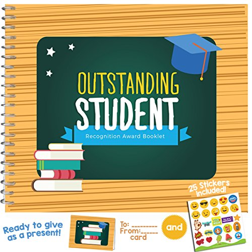 School Recognition Award Booklet - Recognize the Achievements of your Students with The Outstanding Student Award Booklet that Includes a Matching Card and Emoji Stickers to Personalized it