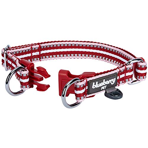 """Blueberry Pet 15 Colors 3M Reflective Multi-Colored Stripe Adjustable Dog Collar, Marsala Red and Pink, Small, Neck 12""""-16"""""""