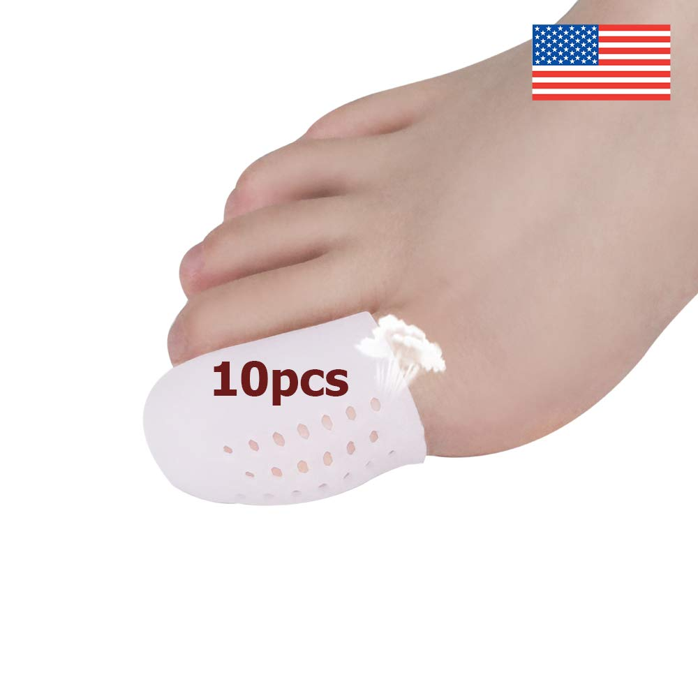 Gel Toe Caps Toe Protectors Breathable Toe Sleeves, New Material,for Blisters, Corns, Hammer Toes, Toenails Loss, Friction Pain Relief and More (10 PCS for Big Toe)