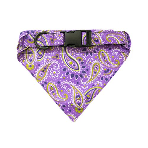 Coolest Homemade Costumes Baby (Dog Bandana Collar Pet Neckerchief For Small - Medium Dogs (14.5 - 24.5 Inches) Handmade by Hide & Drink :: Purple Paisley)