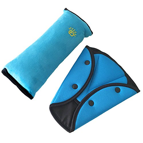 Mideand Seatbelt Pillow and Seatbelt Adjuster, Neck Support Cushion Pad for Kids