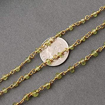 6x7mm Gold Plated Chain Bulk Roll Rosary Chain,glass chain,rolls rosary 3-50 Feet Dark Green Peridot Hydro Beaded Oval Smooth Rosary Chain