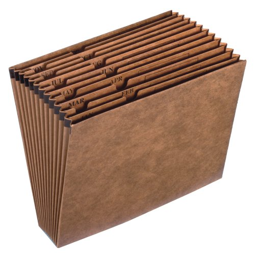 Globe-Weis Letha-Tone Expanding File, Open Top, 12 Pockets, Monthly Index, Letter Size, Brown, (17M) TOPS Business Forms Inc.