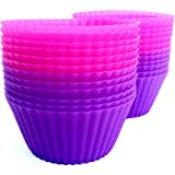 Silicone Baking Cups - Set of 24 Reusable Cupcake Liners By purpledink - LIFETIME GUARANTEE - Perfect Muffins, Frozen Desserts, Chocolates, Pastries and More - High Quality, Non-stick Molds in Stunning Pink and Purple - BPA Free, FDA Approved Bakeware - B