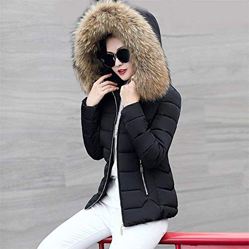 Zipped with Targogo Pockets Long Trendy Outerwear Solid Jacket Quilted Sleeve Fit Schwarz Women Casual Slim Down Hooded Color Jacket Zipper Side Jacket Warm Winter q0q7C