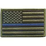 Green US Flag Thin Blue Line Patch for Police and Law Enforcement with Hook/Loop Backing