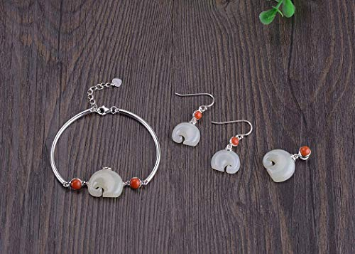 925 Sterling Silver Natural Hetian Jade Jewelry Set, Elephant Pendant Necklace Without Chain, Adjustable Bangle Bracelet, Jade Dangle Earrings, Gift For Her
