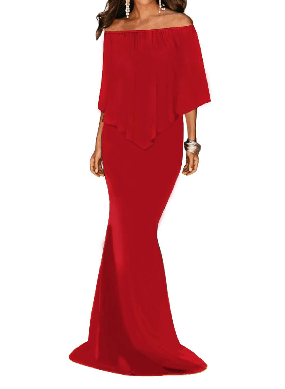 Sidefeel Women Off The Shoulder Ruffled Mermaid Maxi Party Dress XX-Large Burgundy