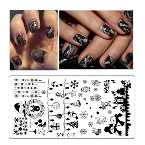 Leewa@ Holiday Themed Nail Art Stamping Plates - Occasions Collection, Halloween+Christmas -6x12cm (H) ()