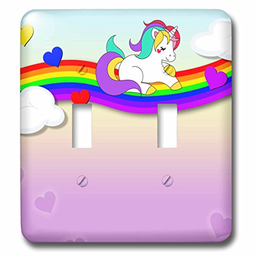 3dRose Sven Herkenrath Fantasy - Cute White Unicorn Sitting on a Rainbow Funny Illustration - Light Switch Covers - double toggle switch (lsp_275943_2) ()