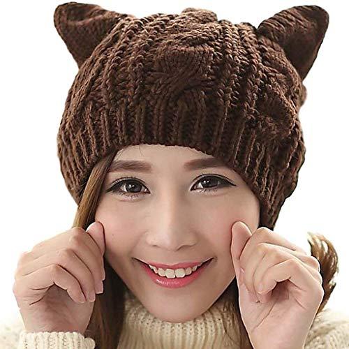 Amersin Cute Woollike Knitted CAT Kitty Ears Women Lady Girl Headgear Crochet Hats (Coffee)