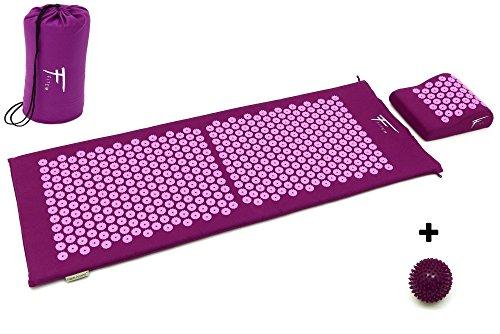 Fitem XL Acupressure Mat and Pillow Set + Spiky Massage Ball - for Back/...