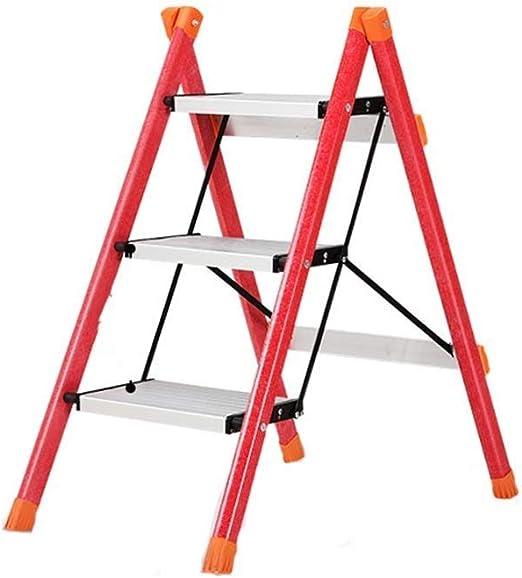 Zryh - Escalera de Tres peldaños de aleación de Aluminio Antideslizante, Escalera Plegable para el hogar (tamaño: Escalera de 3 peldaños): Amazon.es: Hogar