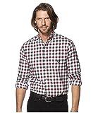 Men's Long Sleeve Button Down Plaid Flannel Shirt (Large, White Sand)