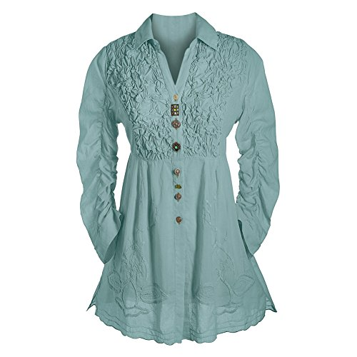 Women's Tunic Top - Button Down 3/4 Sleeve Collared Blouse - Aqua Blue - 1X