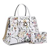 MMK collection Fashion Packlock Handbag for Women~Signature fashion Designer Purse with spring colors~Perfect Women Satchel Purse ~ Beautiful Designer handbag & wallet (6892 W FLOWER)