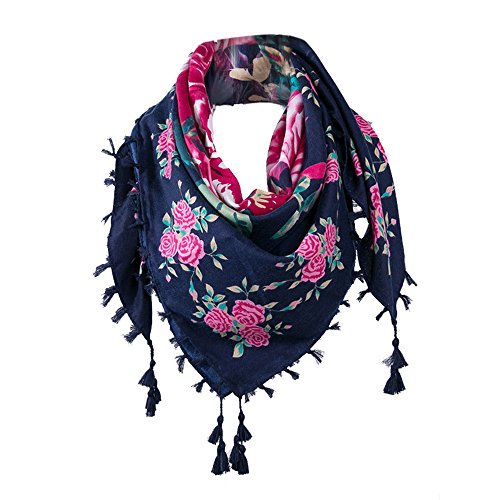 Triangle New (New!! ZOMUSA Lightweight Triangle Floral Fashion Fringe Scarf Wrap for Women (Blue))