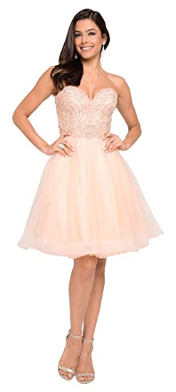 Terani Couture Sweetheart Neck Beaded Bodice Short Ball Gown At