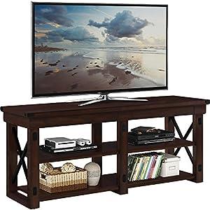 Altra Wildwood Wood Veneer 65 TV Stand, Mahogany