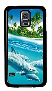 Dolphins Swimming Custom Samsung Galaxy S5 Case Cover - Polycarbonate - Black