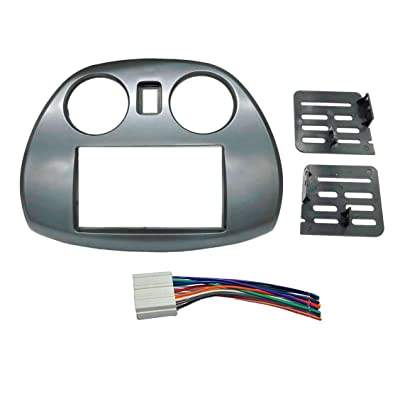 Radio Stereo Double 2 Din Dash Install Kit Mount Trim Bezel w/Wiring Harness and Factory Blue LED Fitted for Mitsubishi Eclipse: Car Electronics