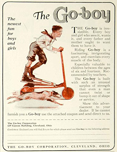 1924 Ad Stanley Wood Art Go-Boy Scooter Children's Toy Dog Pets Roaring Twenties - Original Print Ad from PeriodPaper LLC-Collectible Original Print Archive