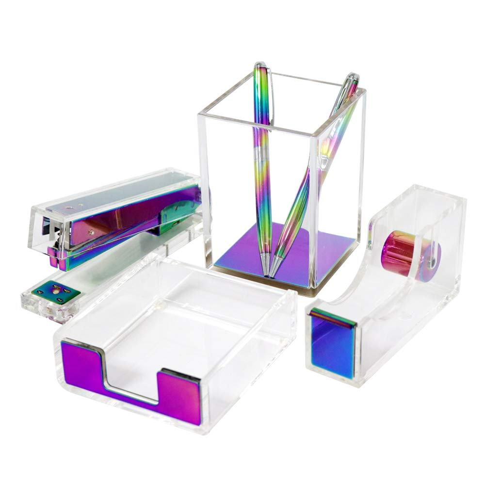 Modern Clear Rainbow Colorful Acrylic Desktop Accessories Organizer Office Supplies Set, 6 in 1 Office Adhesive Tape Dispenser Cutter, Stapler with Staples, Sticky Notes Tray,Pen Pencil Cup Gift Idea by MultiBey
