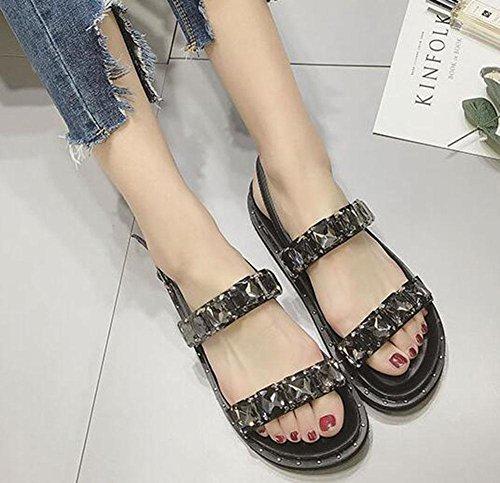 de remaches sandalias de ocasionales mujeres sandalias con Piso romanas moda KUKI gruesas diamantes 1n8A6qfWx