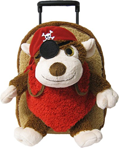 Kreative Kids Adorable Pirate Monkey Plush Rolling Backpack w/Shiny Eyes, Removable Stuffed Toy & Wheels