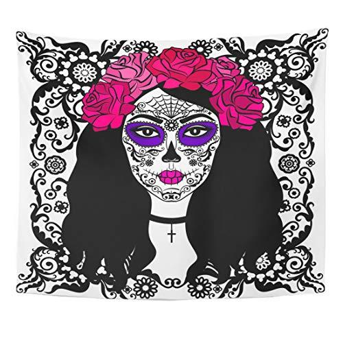 Emvency Tapestry Black Tattoo Girl with Sugar Skull Makeup Calavera Catrina Mexican Halloween Person Dia De Los Muertos Home Decor Wall Hanging for Living Room Bedroom Dorm 50x60 Inches]()