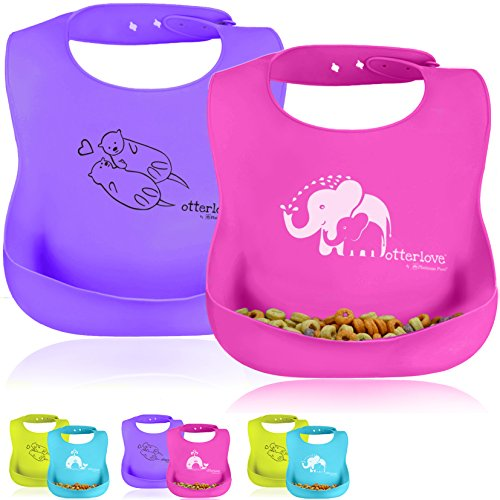 Otterlove Platinum Silicone Bib - Waterproof Bib with Wide Food Catching Pocket - Easy Clean - For Babies & Toddlers - Mess Proof - Dishwasher Safe - BPA Free