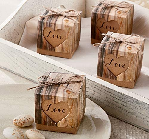 Set of 24 Kate Aspen Hearts in Love Rustic Favor Box