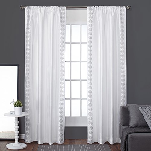 White Pattern Curtains Amazon