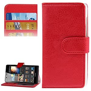 Litchi Texture Horizontal Flip Leather Case with Credit Card Slot & Holder for Huawei Ascend G6 (Red)