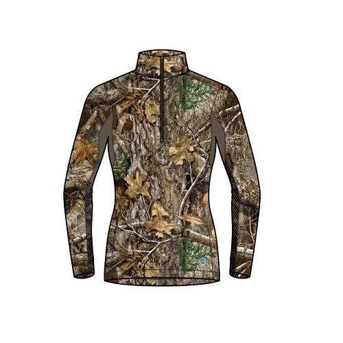 ScentLok Womens BaseSlayer AMP 1/4 Zip Top (Realtree Edge, Medium) by ScentLok
