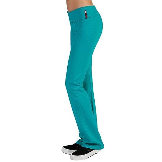 Active USA Regular Leg Stretch Cotton Fold Over Workout Yoga Pants (L, Jade)