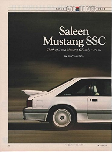 Magazine Print Article: 1989 Saleen Ford Mustang SSC Road Test, Car and Driver magazine,