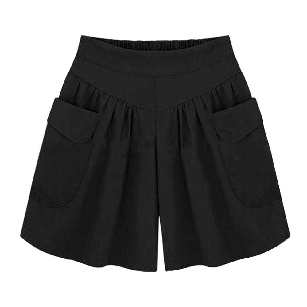 Mesinsefra Women's Casual Culottes Shorts Elastic Waist Wide Leg Shorts Black L-US 4-6