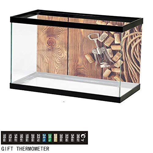 (Suchashome Fish Tank Backdrop Winery,Wooden Table Wine Corks,Aquarium Background,36