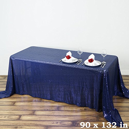 (Efavormart Luxury Collection Duchess Sequin Rectangle Tablecloth 90