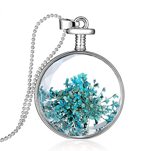 Loweryeah Natural Dandelion Dried Flower Clear Glass Necklace Pendant (Blue)