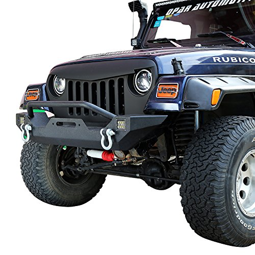 Opar TJ Different Trail Front Bumper w/ Winch Plate & 2x 18W LED Lighting for 1987-2006 Jeep Wrangler YJ TJ & Unlimited