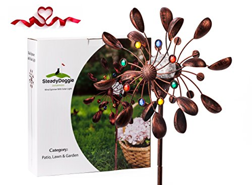 Solar Wind Spinner New 75in Jewel Cup Multi-Color Seasonal LED Lighting Solar Powered Glass Ball with Kinetic Wind Spinner Dual Direction for Patio Lawn & Garden (Copper Pinwheel)
