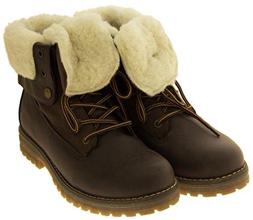 Footwear Studio Womens KEDDO Hi Top Warm Wool Lined Ankle Boots Dk Brown moXgO