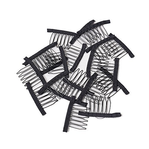 32 Pcs Stainless Steel Wig Combs for Making Wig Black Color Wig Clips for Lace Wig Cap