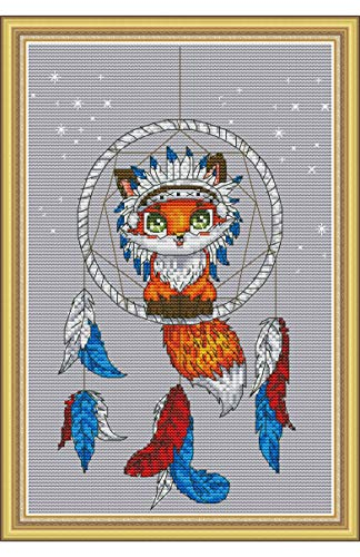 Cross Stitch Stamped Kits Quilt Pre-Printed Cross-Stitch Patterns for Adults Beginners, Embroidery Design Needlepoint Crafts Starter Kits-The Little Fox for Gifts,Home Wall Decorations
