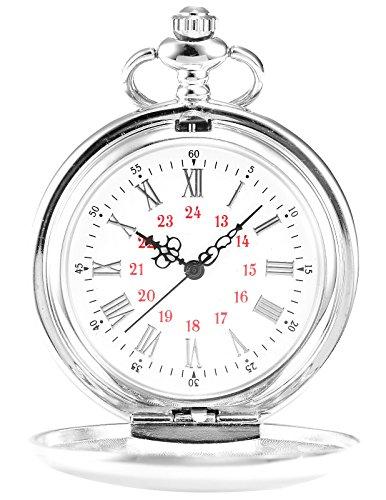 AMPM24 Vintage Silver Men's Women Ladies Quartz Pendent Pocket Watch Clock Chain Gift WPK027 by AMPM24