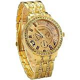 ساعة يد للنساء من جينيفا ذهبية اللون مرصعة بالكريستال
