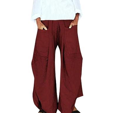 Pantalones Largo Mujer Pantalones Mujer Chandal Ancha Color Sólido ...