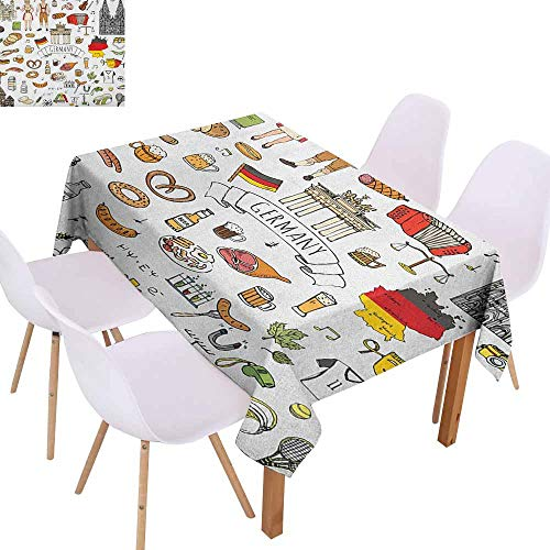 Waterproof Tablecloth German Hand Drawn Doodle of German Culture Icons Football Jersey Food Science and Music Easy to Clean W52 xL70 Multicolor ()